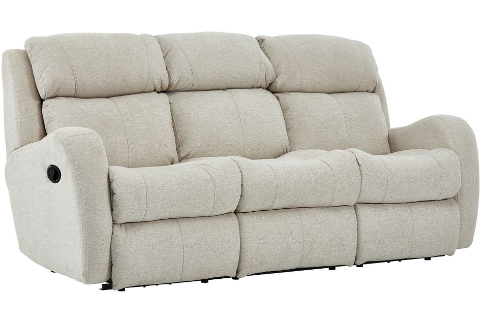 Finn Light Beige Fabric Reclining Sofa