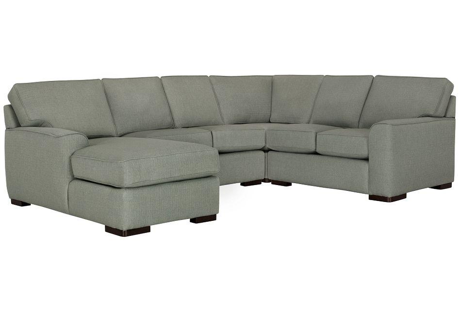 Austin Green Fabric Medium Left Chaise Sectional