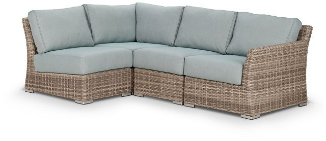 Raleigh Teal Right 4-piece Modular Sectional (2)