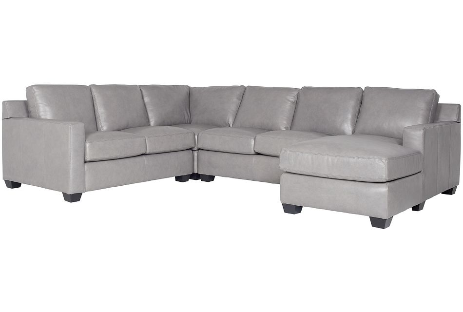 Carson Gray Leather Medium Right Chaise Sectional
