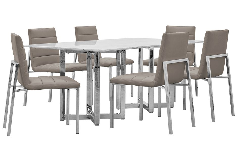 Amalfi Taupe Marble Rectangular Table & 4 Upholstered Chairs
