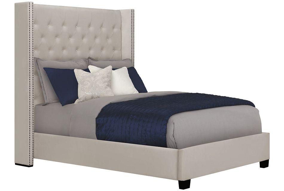 Sloane Light Beige  Uph Shelter Bed, Queen