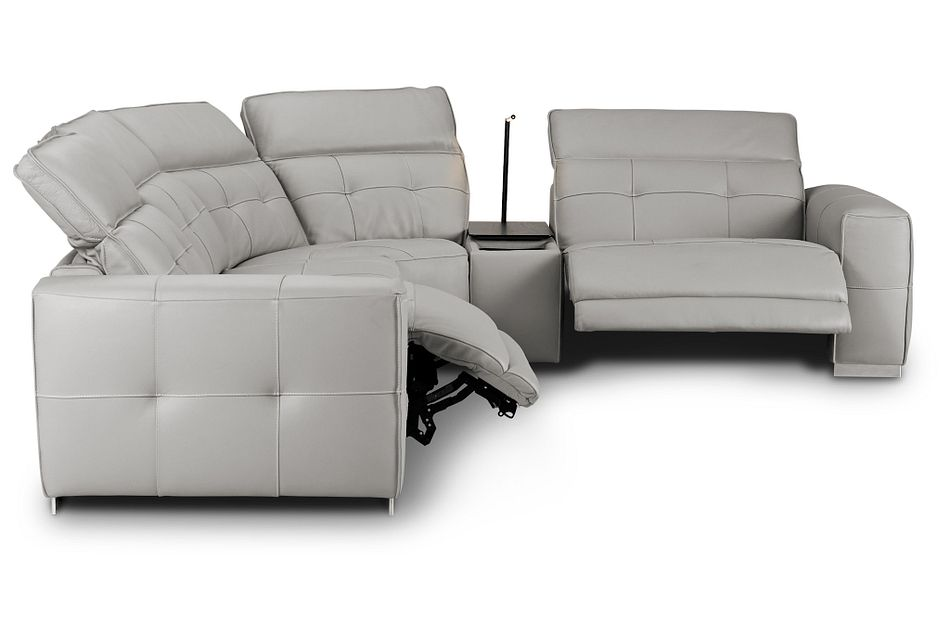 Reva Gray Leather Small Dual Power Reclining Two-arm Sectional