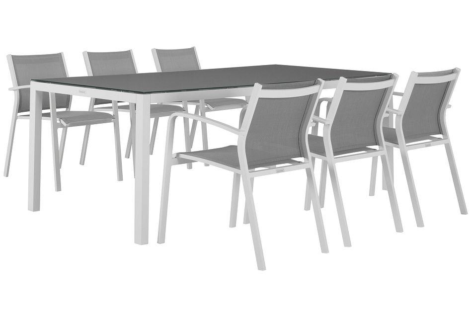 "Lisbon Gray 86"" Rectangular Table & 4 Chairs,  (1)"