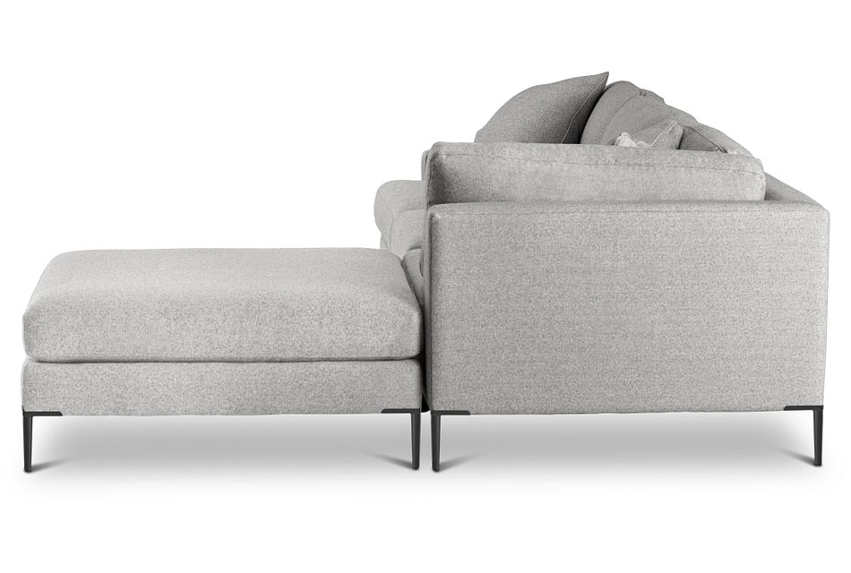 Morgan Light Gray Fabric Right Bumper Sectional W/ Metal Legs