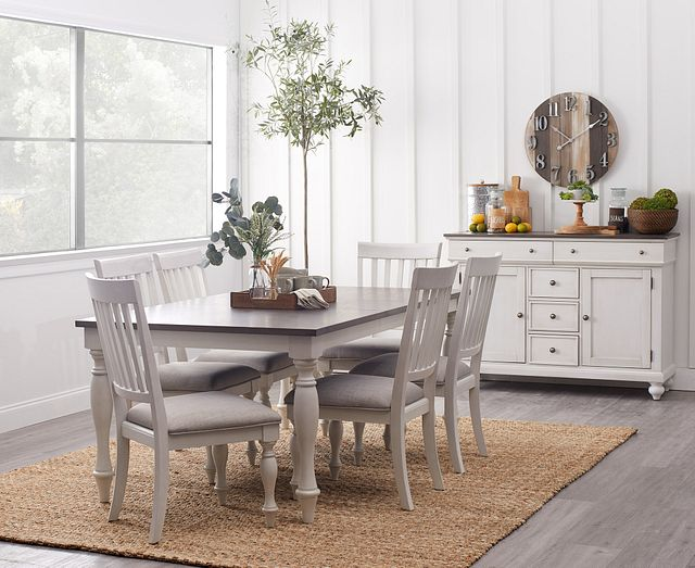 Grand Bay Two-tone Wood Table & 4 Upholstered Chairs (3)