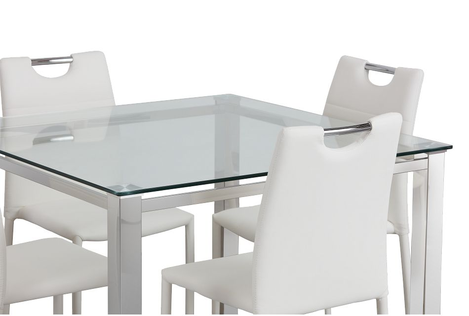 Skyline White Square Table & 4 Upholstered Chairs
