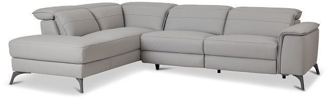 Pearson Gray Leather Left Bumper Sectional (1)