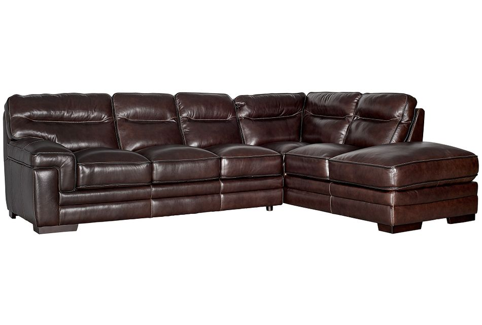 Alexander Dark Brown Leather Right Bumper Sectional