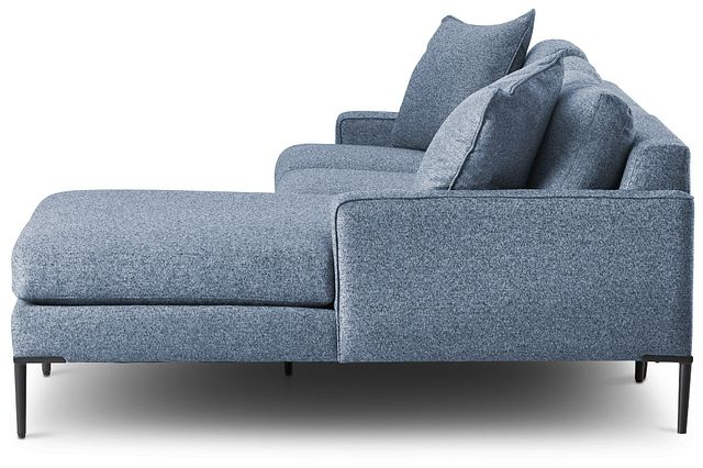 Morgan Blue Fabric Small Right Chaise Sectional W/ Metal Legs (2)