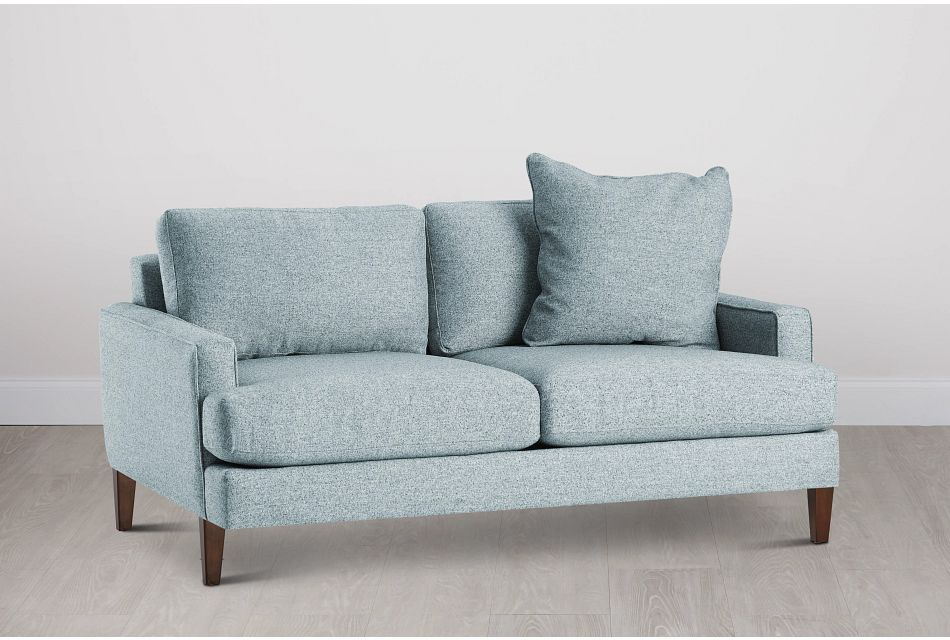 Morgan Teal Fabric Loveseat With Wood Legs