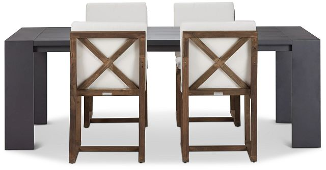 """Linear Dark Gray White 87"""" Aluminum Table & 4 Teak Cushioned Side Chairs (2)"""