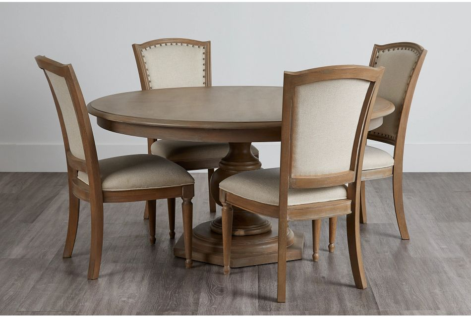 Haddie Light Tone Round Table & 4 Wood Chairs,  (0)
