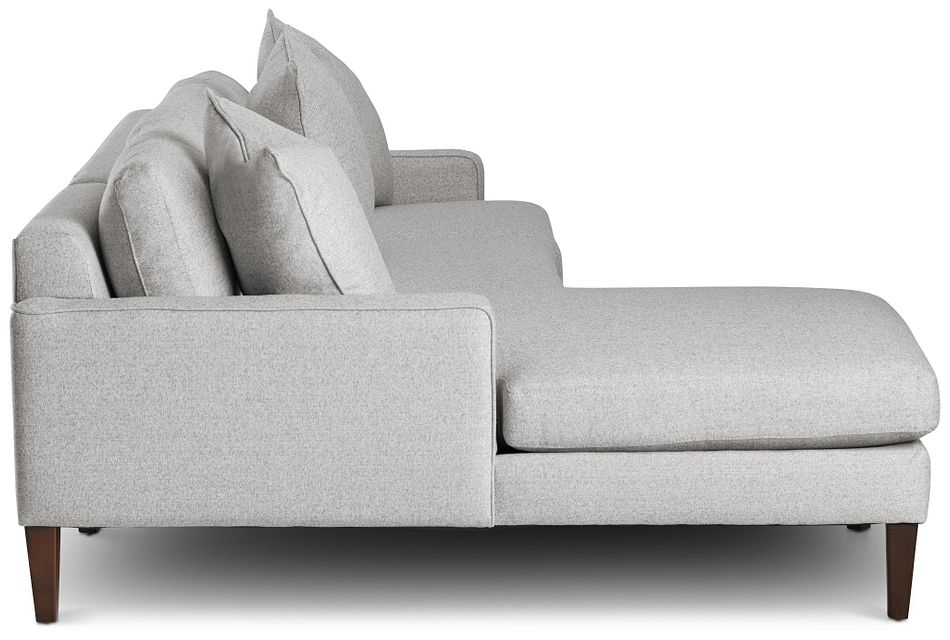 Morgan Light Gray Fabric Small Left Chaise Sectional W/ Wood Legs