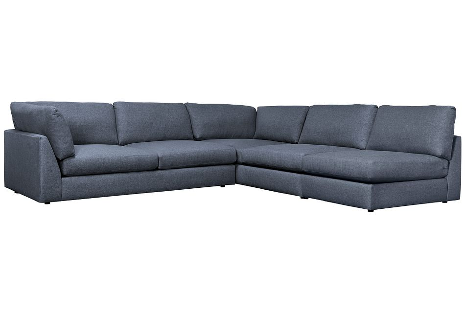 Harper Dark Blue Fabric Large Left Arm Sectional