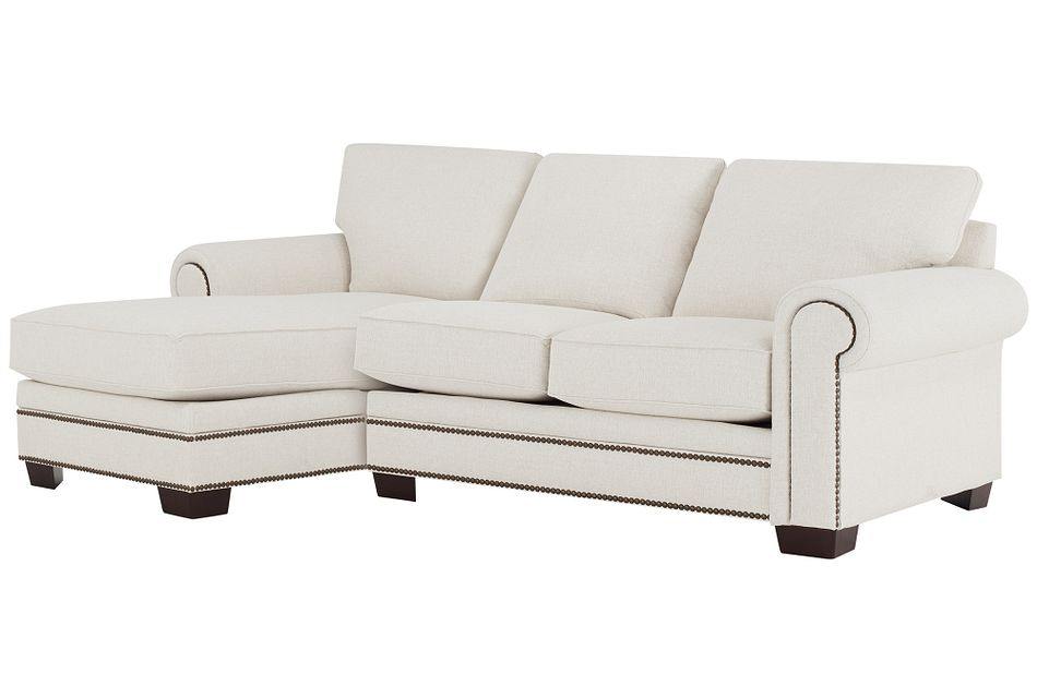 Foster White Fabric Left Chaise Sectional