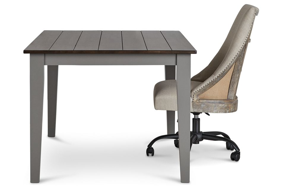 Sumter Gray Desk And Chair,  (3)