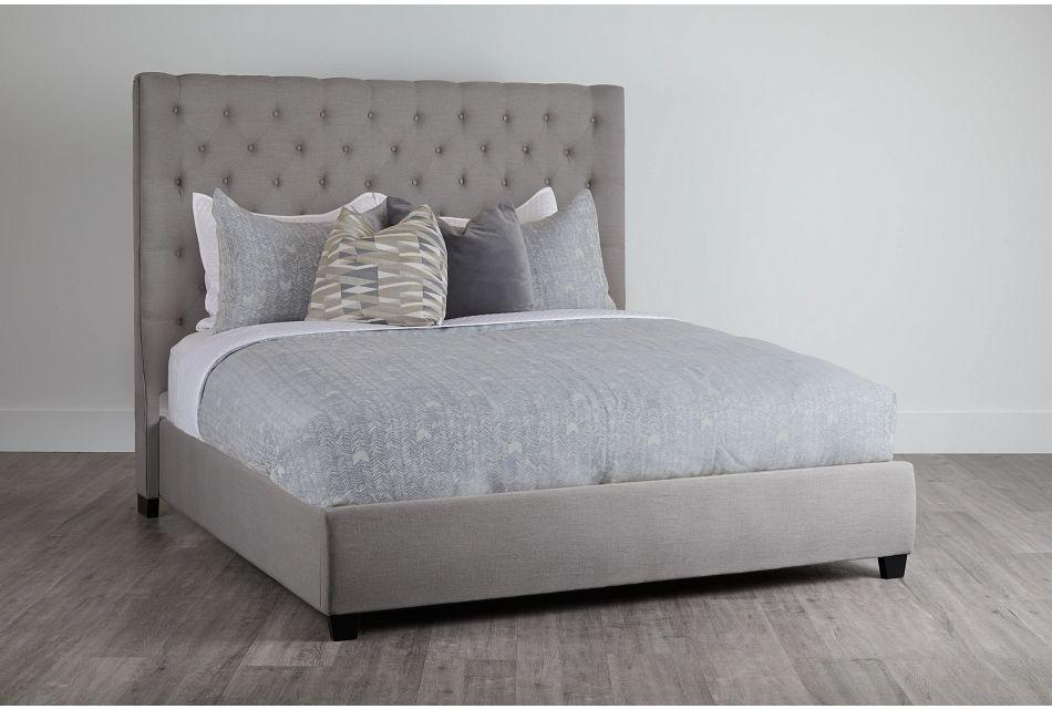 Rylee Dark Gray Uph Platform Bed, King (0)
