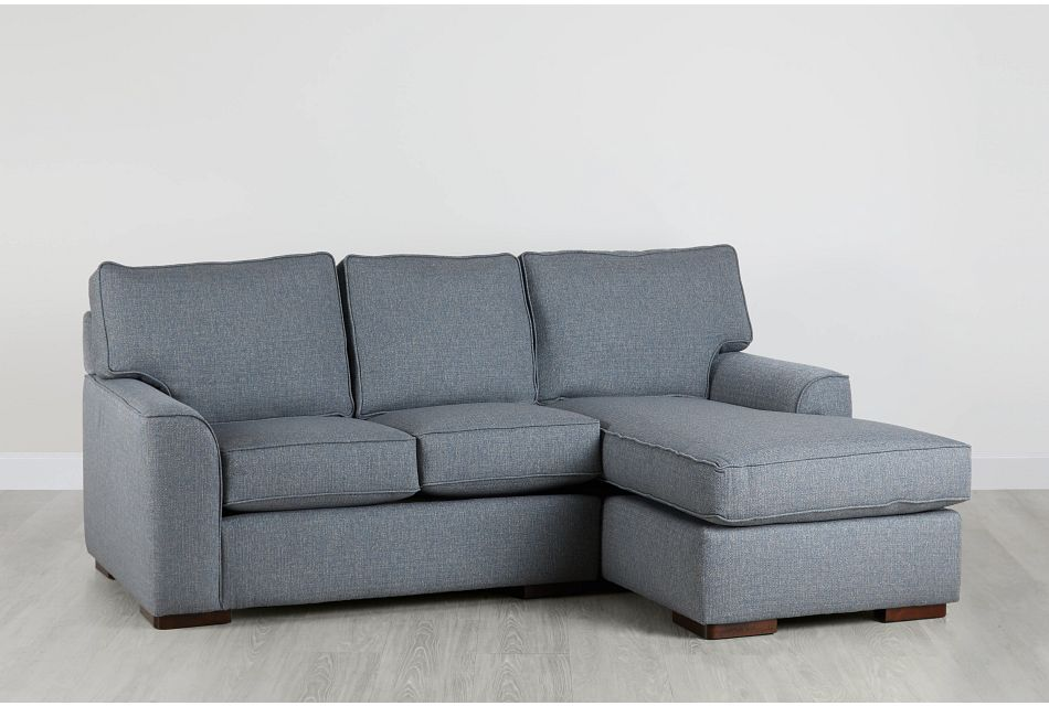 Austin Blue Fabric Right Chaise Sectional