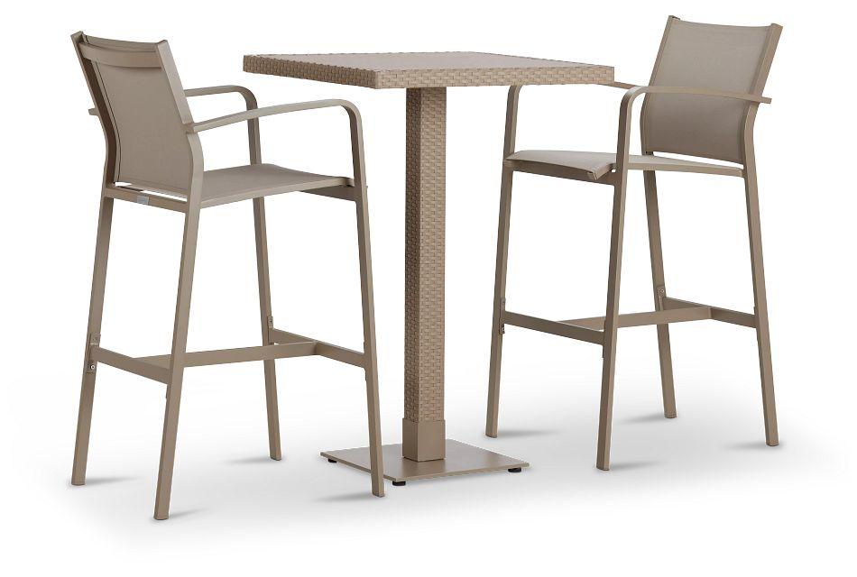 Lisbon Khaki Square Pub Table & 2 Barstools