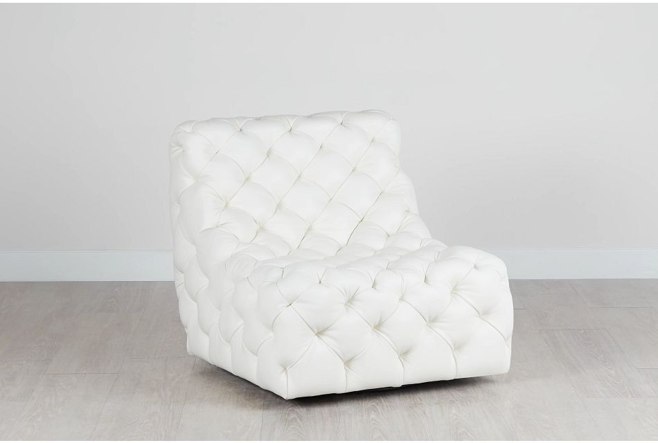 Rigby White Leather Swivel Accent Chair
