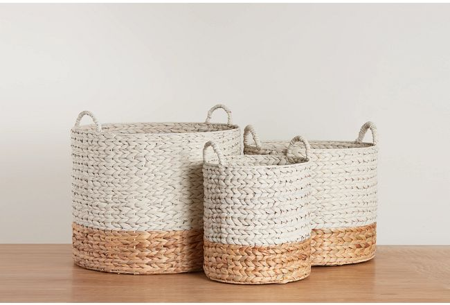 Cassie Set Of 3 White Basket