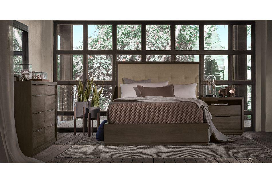 Madden Taupe Uph Platform Bedroom