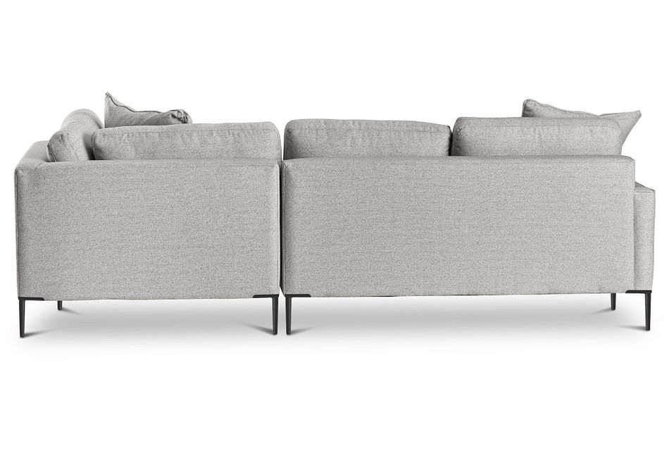 Morgan Light Gray Fabric Small Right Bumper Sectional W/ Metal Legs