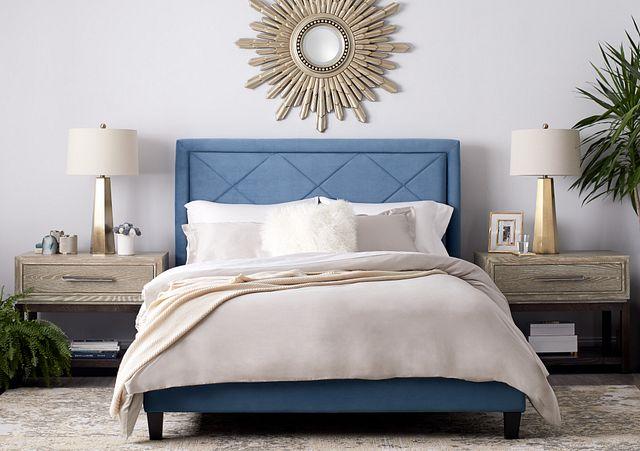 Collin Blue Velvet Platform Bed (1)