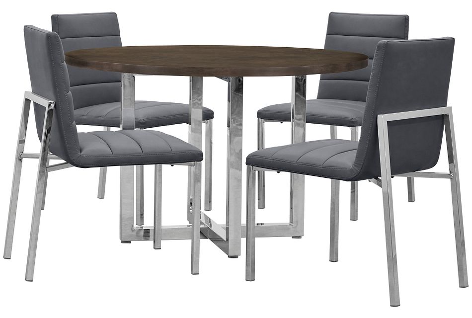 Amalfi Gray Wood Round Table & 4 Upholstered Chairs
