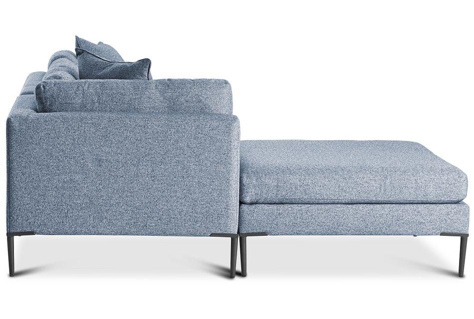 Morgan Blue Fabric Small Left Bumper Sectional W/ Metal Legs