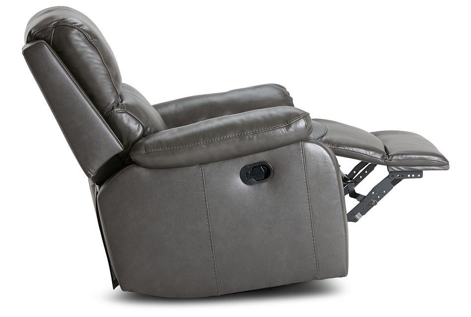 Mason Dark Gray Leather Swivel Glider Recliner