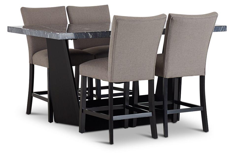 Auburn Dark Gray High Table & 4 Dark Gray Upholstered Barstools, %%bed_Size%% (1)