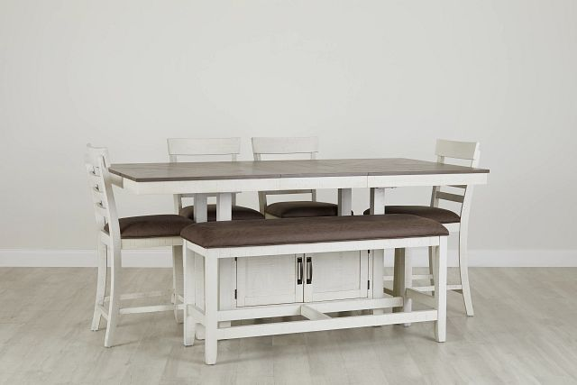 Huntsville Two-tone Rect High Table, 4 Barstools & High Bench (0)