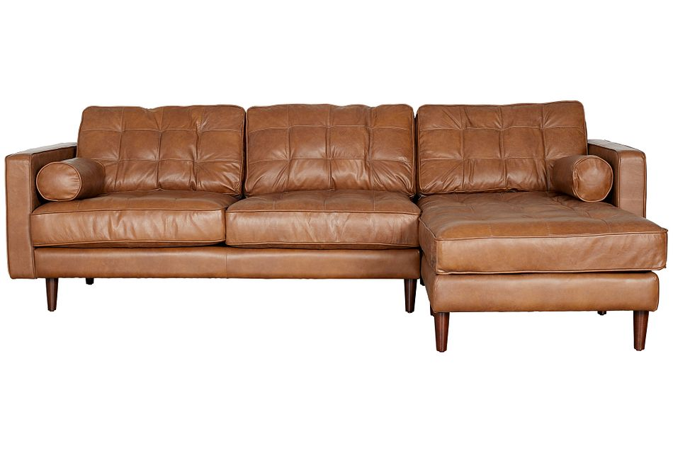 Encino Medium Brown Leather Right Chaise Sectional,  (0)
