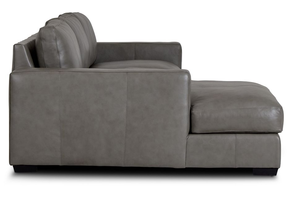 Dawkins Gray Leather Left Chaise Sectional,  (1)