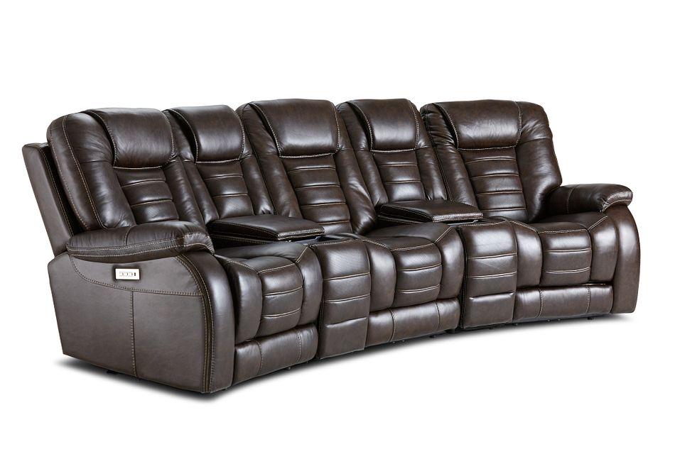Bradley Dark Brown Lthr/vinyl Dual Power Reclining Home Theater Seating