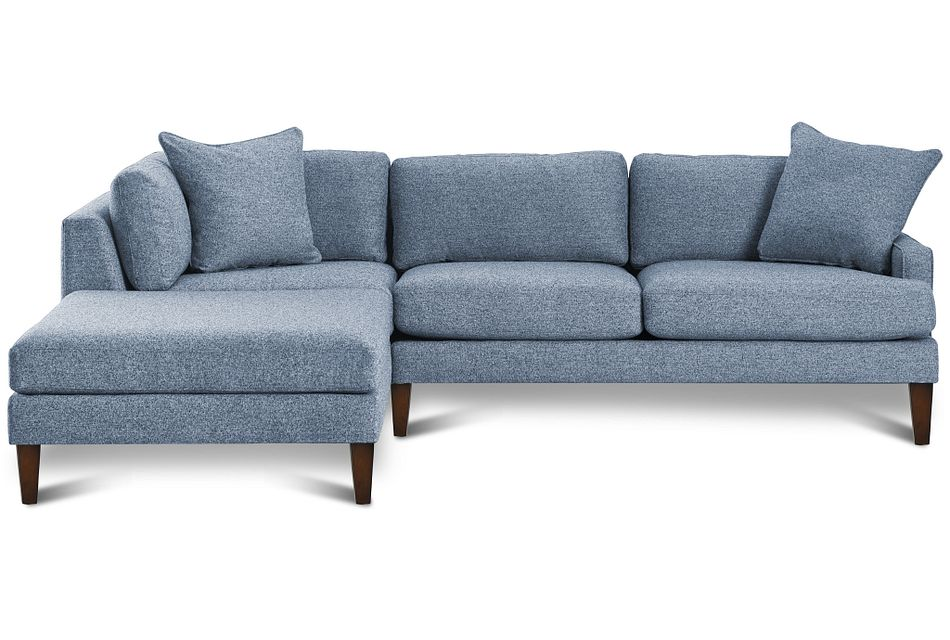 Morgan Blue Fabric Left Bumper Sectional W/ Wood Legs
