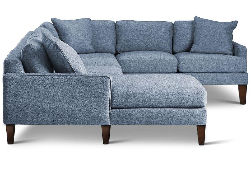 Morgan Blue Fabric Medium Left Chaise Sectional W/ Wood Legs