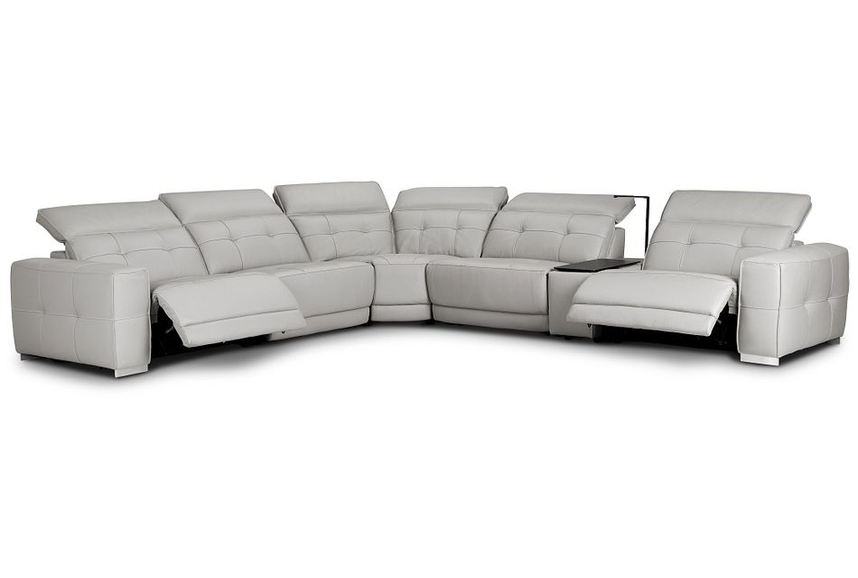 Reva Gray Leather Medium Dual Power 2-arm Reclining Sectional