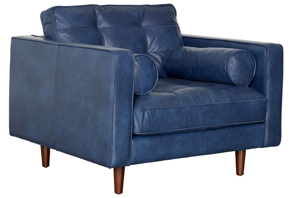 Encino Dark Blue Leather Chair