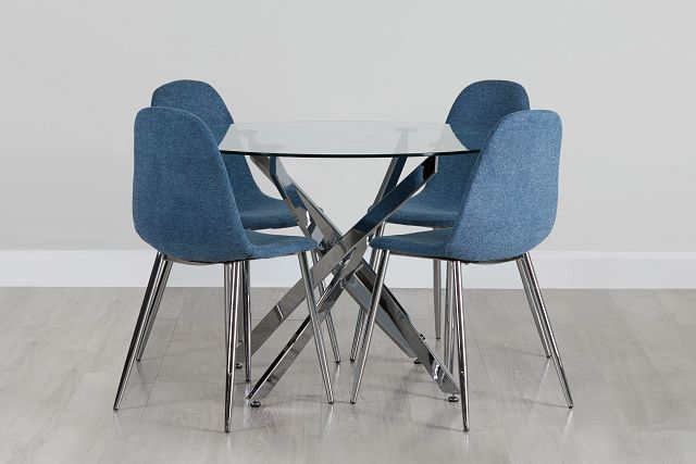 Havana Chrome Blue Round Table & 4 Upholstered Chairs (0)