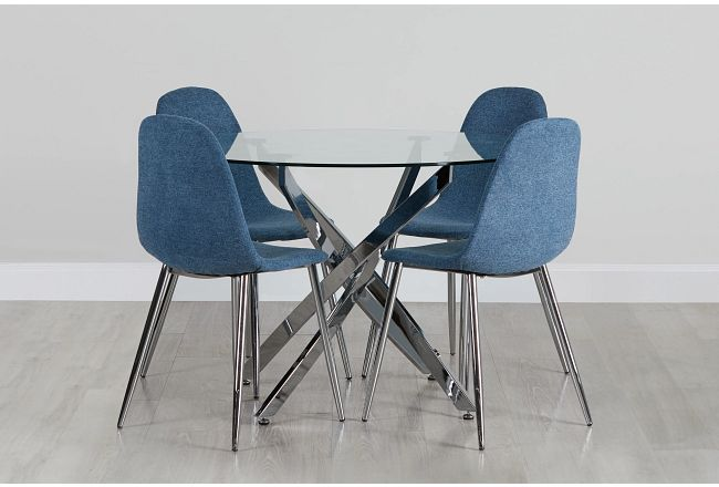 Havana Chrome Blue Round Table & 4 Upholstered Chairs