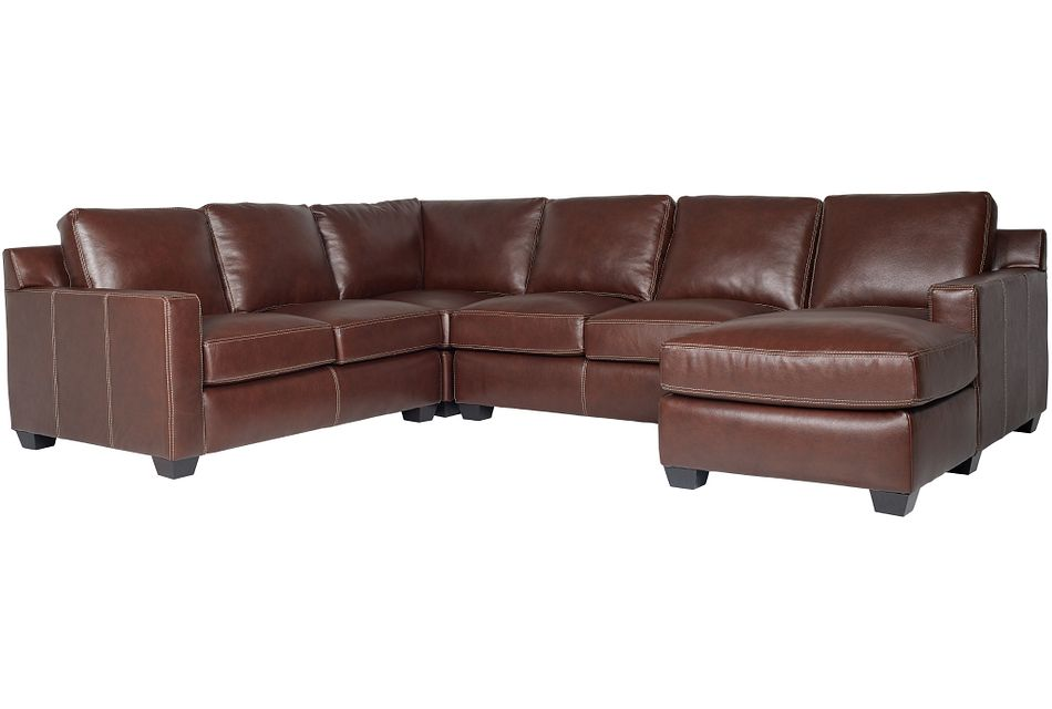 Carson Medium Brown Leather Medium Right Chaise Sectional,  (0)