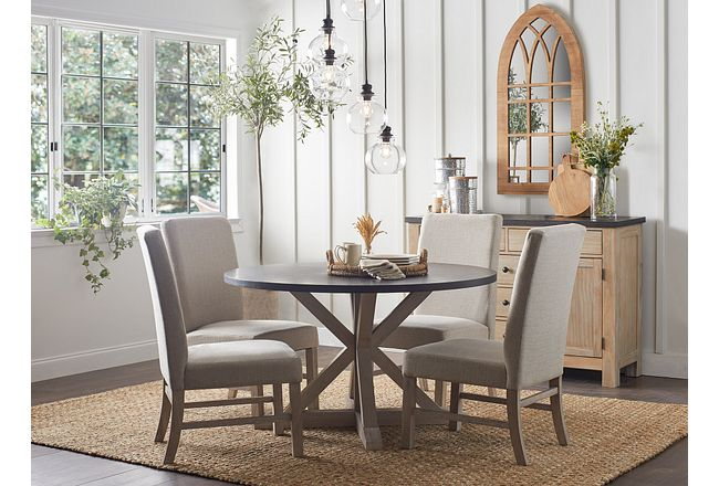Jefferson Two-tone Round Table & 4 Upholstered Chairs