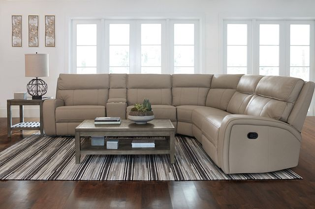 Rhett Taupe Micro Small Two-arm Manually Reclining Sectional (3)