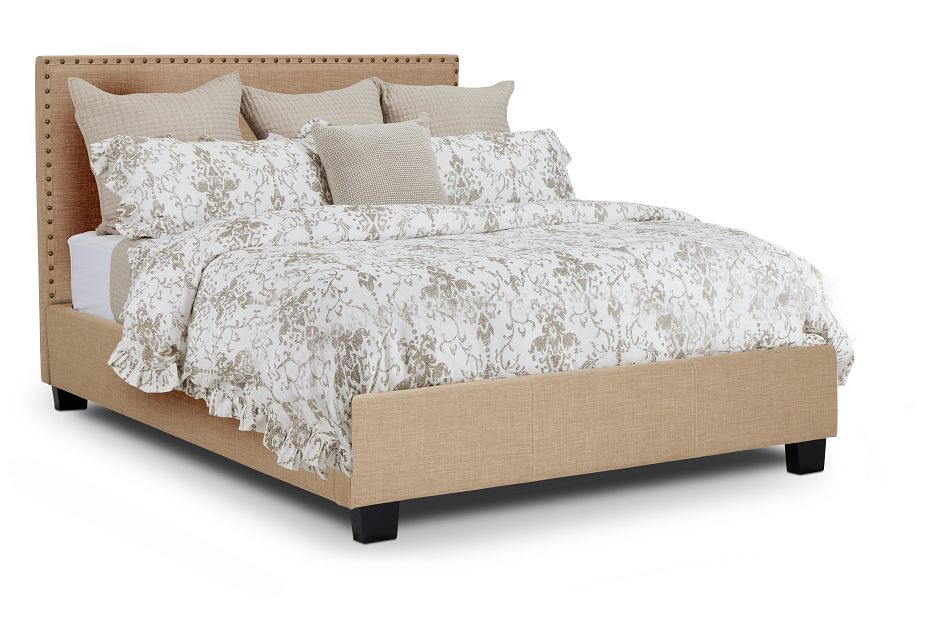 Holden Taupe Uph Platform Bed, Queen (1)