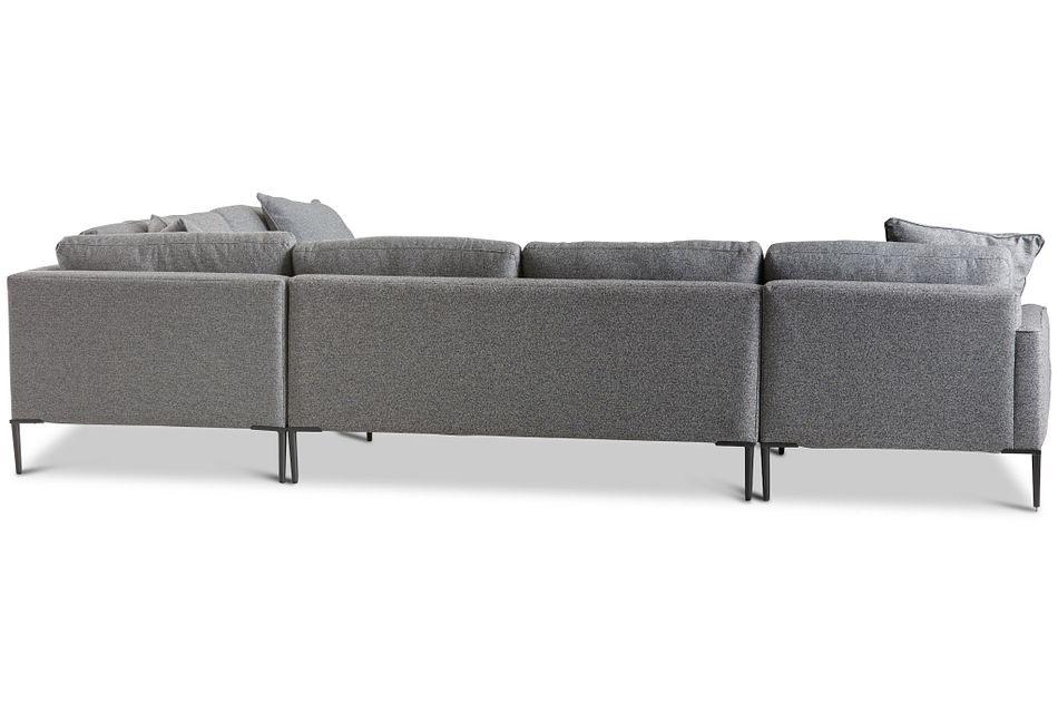 Morgan Dark Gray Fabric Medium Left Chaise Sectional W/ Metal Legs
