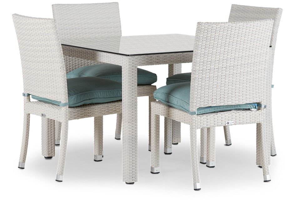 "Bahia Teal 40"" Square Table & 4 Chairs"