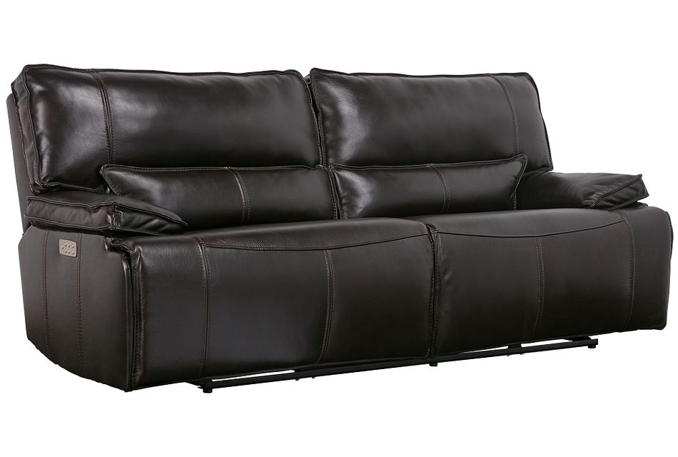 Jesse Dark Brown Lthr/vinyl Power Reclining Sofa